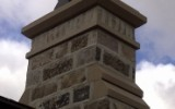 Limestone detailing pieces on chimney