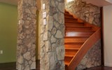 Great stone accents in a basement renovation